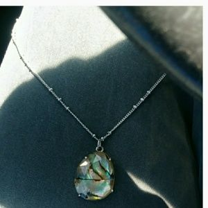 NWOT🌙Stella & Dot Faceted Abalone 925 Necklace